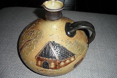 Keramik Tisch Vase Krug Henkelkrug Karaffe Flasche braun schwarz Landhaus Deko - Braun Schwarz Karaffe