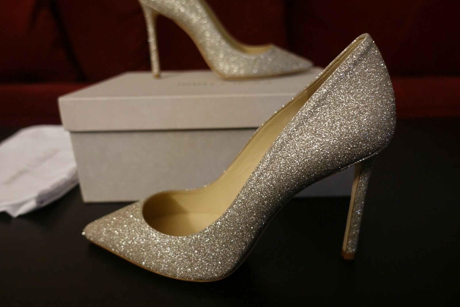 Jimmy Choo Romy 100 Glittered Leather Pumps Wedding Shoes Silver White 38 675