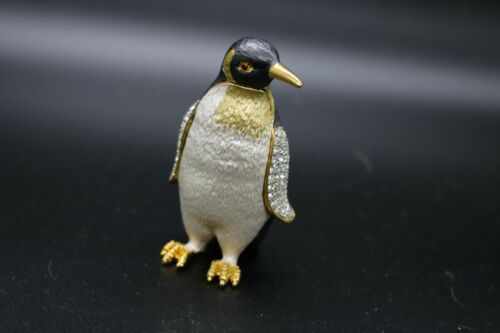 Fancy Penguin Jeweled with Crystals Enamel Trinket Box  Animal