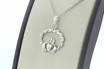 Vintage Sterling Silver 925 Celtic Claddagh Twisted Charm Pendant