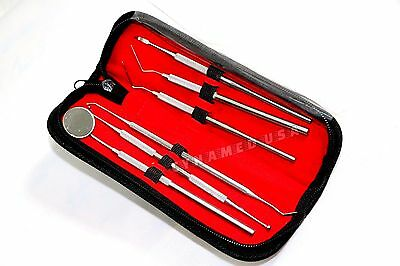 German Dental Scaler Pick Stainless Steel Tools With Inspection Mirror Set 6 Pcs