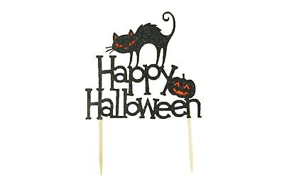 HAPPY HALLOWEEN Black CAT Sign Glitter Cake Topper  Party Decor 6