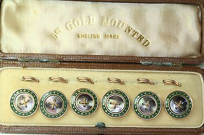 ANTIQUE SET OF 6 9CT GOLD MOTHER OF PEARL & ENAMEL VEST BUTTONS IN ORIGINAL CASE