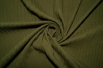 Olive Ribbed Cable Sweater Knit #42 Cotton Spandex Stretch 200 GSM Fabric BTY Cotton Spandex Jumper