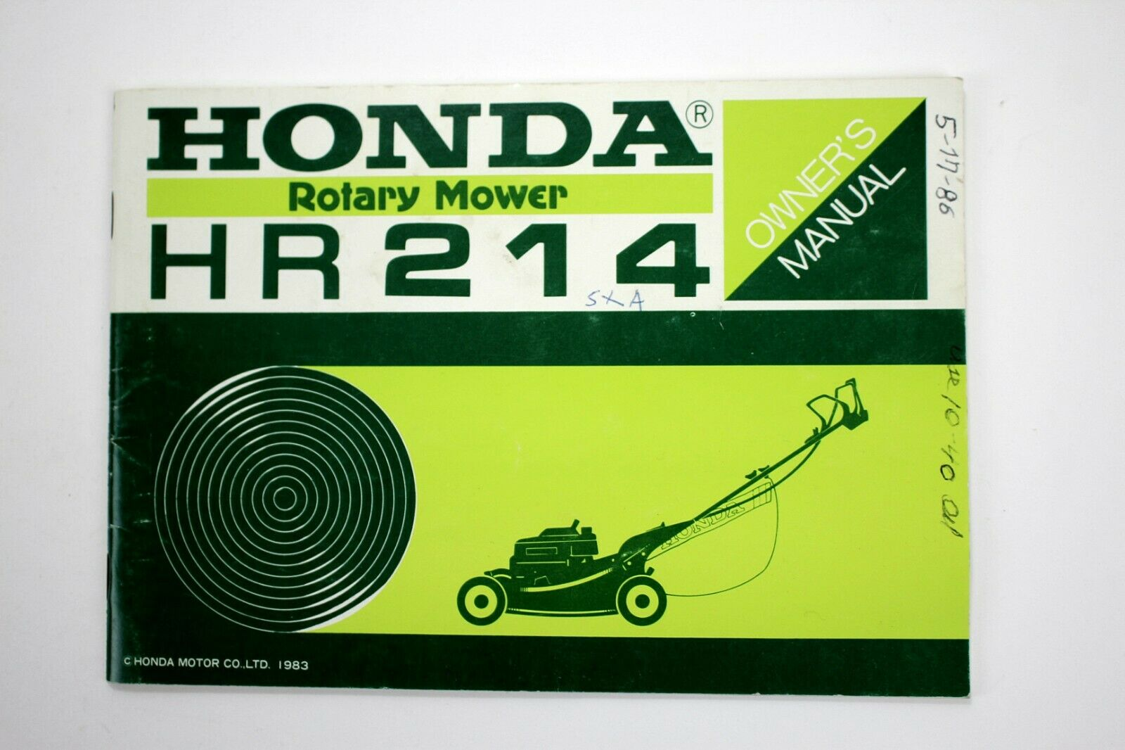 Honda Rotary Mower HR214 Owner's Manual 1983