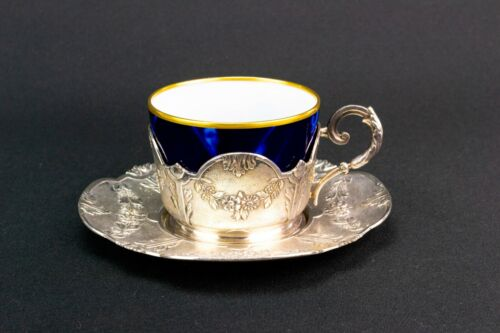 CHRISTOFLE Antique Teacup Holder & Saucer French Silver Plated Tea Set