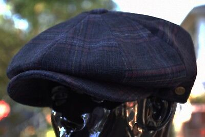 Men's Wool Newsboy Cap, Driving Cabbie Applejack Plaid Tweed Golf Hat Ns2321Navy