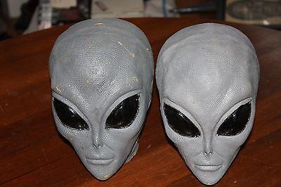 Alien Head Halloween Party Props Lot of 2 Grays