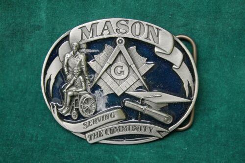 Mason Belt Buckle J-6 <c> 1992 by Siskiyou Masonic emblem blue enameled