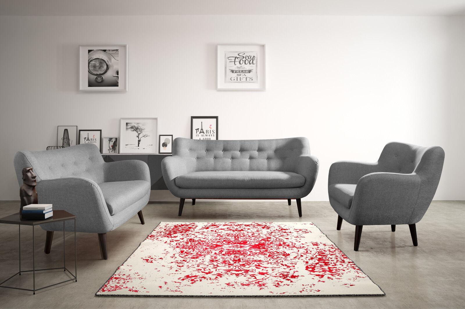 2-Sitzer Sofa ADDE 3-Sizter Modern Set Wohnzimmerset Garnitur Polstersofa 13