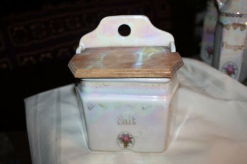"VINTAGE, CERAMIC SALT BOX WITH WOODEN TOP-MARKED GERMANY 6.5"" x 5.5"""