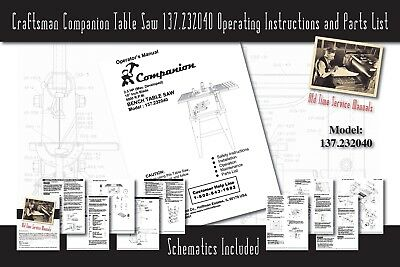 Craftsman Companion Table Saw 137.232040 Operating Instructions & Parts List