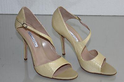 $1490 NEW Oscar de la Renta PYTHON Heels Cream Champagne SHOES 40.5 Wedding