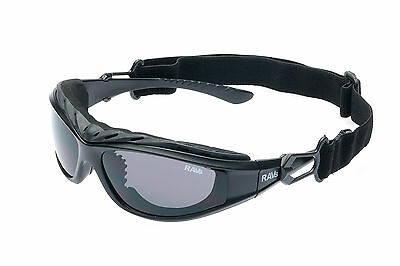 Ravs  Sonnenbrille für Biker, Motorradbrille, Bikerbrille schwarz Band und Bügel