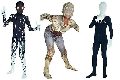 Halloween Morphsuits Zombie Slenderman Zalgo Boys Costumes Ages 8-10, 10-12 BNIP
