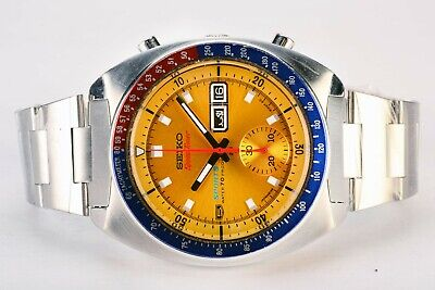 Rare Vintage Seiko 6139-6002 Pogue Day Date Chronograph Automatic S.S Watch