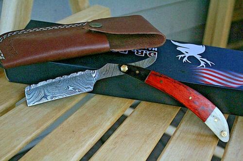 DR BONE USA Damascus Steel Shaving Straight Razor Blade Handmade Deer bone hand