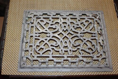 Antique Victorian Register Heating Grate Vent #23 Cast Iron Scrolls Rectangular