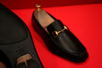 $689.00!! GUCCI WOMEN'S BLACK ICONIC LUXURY LEATHER HORSE BIT LOAFERS SHOES 7 B