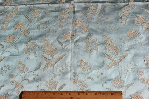 "Lovely Antique French Ice Blue Lyon Silk Home Dec Fabric Sample c1870~39""LX21""W"