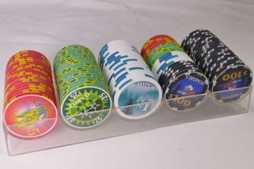 CHIPCO INTERNATIONAL SAMPLES hotel casino gaming poker chips~With RACK - 100