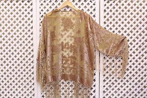 Vintage nude Silk velvet Devore 70s 20s fringe floral scarf jacket kimono S M