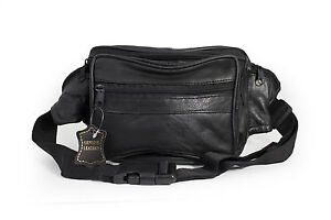 FANNY-PACK-NEW-BLACK-POPULAR-STYLE-GENUINE-LEATHER-5-ZIPPERS-GREAT-GIFT-IDEA