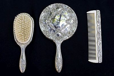 Antique Vintage Silver Plate Hand Mirror Brush Comb Vanity Set