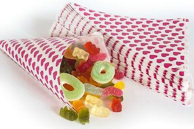 tztüten Herzen pink 19cm Geschenktüten CandyBar Herztüten (Papier Geschenke)