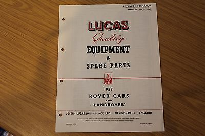"Lucas Quality Equipment & Spare Parts 1956 Rover Cars & Land Rover 86"" & 107"""