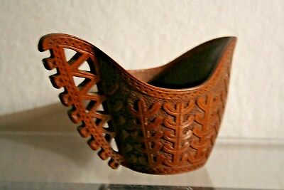 ANCIEN POT A LAIT EN BOIS-ANTIQUE HAND CARVED WOOD POT - FOLK ART-QUEYRAS ALPS