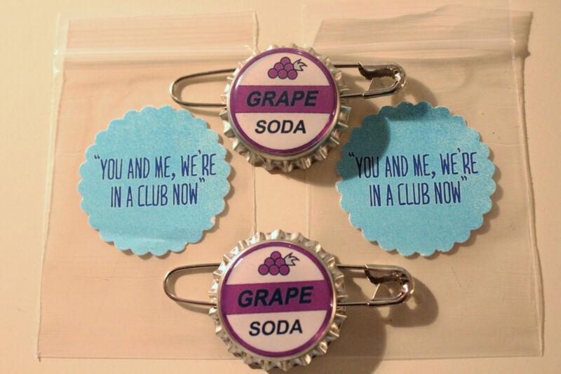 "Set of 2- Replica ELLIE BADGE GRAPE SODA BOTTLECAP PIN! ""UP"" & Sticker Gift Bags"