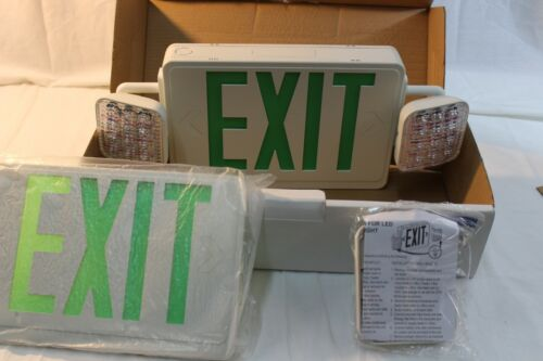 Econolight Combo Green LED Exit/ Emergency Sign Light Square Head