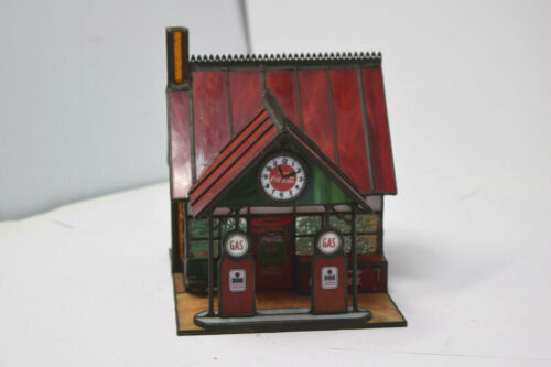 Coca-Cola Franklin Mint Stained Glass Gas Station 1997 Village