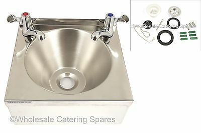 BRAND NEW Stainless Steel Catering Hand Wash BASIN with 2  lever taps & WASTE