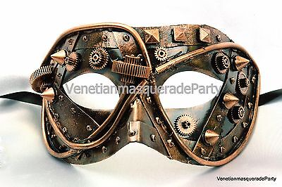 Men Boys Gears Spiked Steampunk Eye mask Masquerade Ball Halloween accessories - Masquerade Ball Accessories