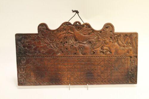 Antique Balinese Pawukon Calendar Tika Hand Carved Art Wood Hanging Panel Plaque
