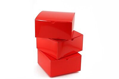 10pc RED Paper Gift Boxes with Lids 8 x 8 x 4 inches Holiday Christmas Boxes - Christmas Boxes