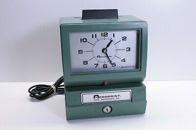 Acroprint Time Recorder Co Time Card Clock Punch Model 125nr4 No Key Tested Fast