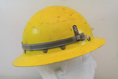 Vtg Fibre-metal Superglas Yellow Wide Full Brim Fiberglass Hard Hat Safety 3476m