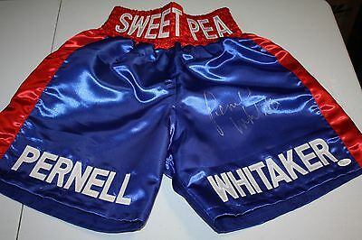 PERNELL WHITAKER SIGNED CUSTOM BOXING TRUNKS FORMER CHAMP