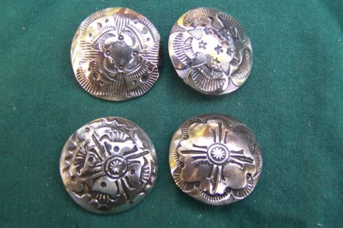 """4 Vintage coin silver Navajo buttons. 1"""" in good stamp work-strong"""
