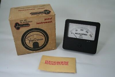Vintage Phaostron 0-200 Milliamperes D.c. Meter. New Old Stock Whardware Box