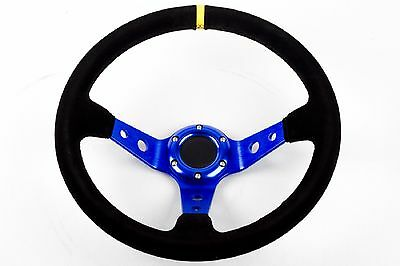 "RALLY DRIFT Style Steering Wheel Black Suede with Blue Centre Spars 13"" STR"