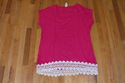Fuchsia Crochet - MOA RAYON FUCHSIA TUNIC BLOUSE CROCHET CONTRAST HEM SIZE XL NEW