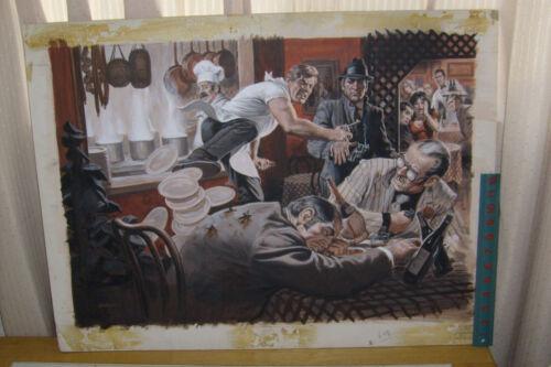 EARL NOREM PAINTING: mens magazine illustration: ITALIAN RESTAURANT!