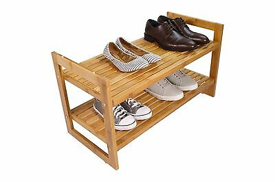 Tidy Living - 2 Tier Bamboo Shoe Rack - High Quality Natural Finish Organizer
