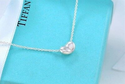 """Tiffany & Co Sterling Silver Elsa Peretti Mini Bean Pendant Necklace 16"""" + Pouch"""