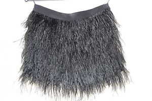 Women's Black Maje Ostrich Feather and Silk Skirt, Size 34