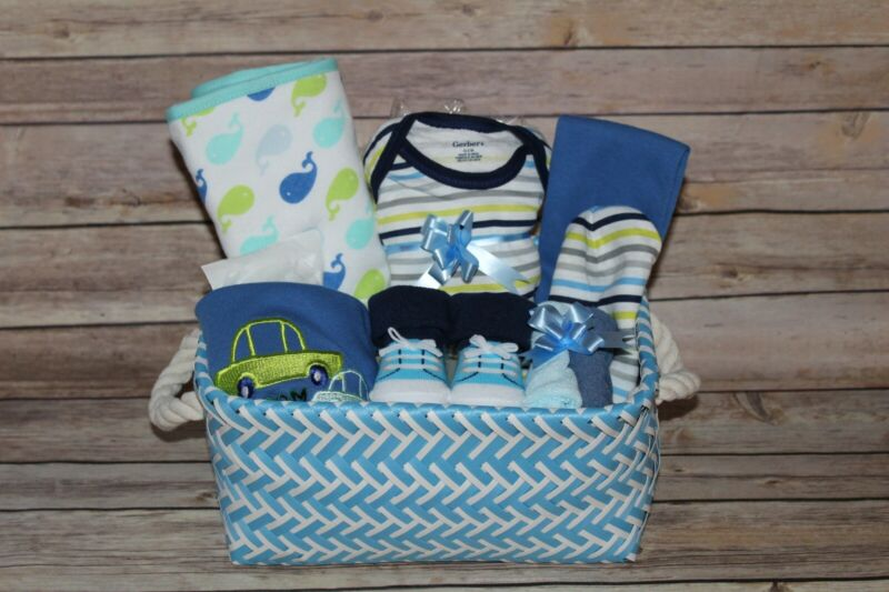 Beautiful Baby Boy Blue Gift Basket, Perfect for Shower or Newborn Gift!